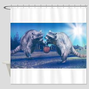 Raccoon Basketball Shower Curtain