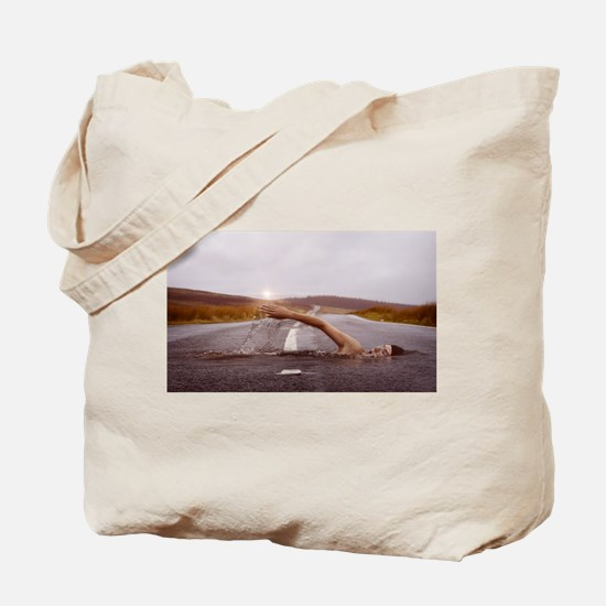 Swimming Down the Street Tote Bag