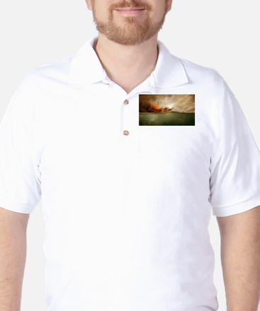 The Ship, the Ship, the Ship is on Fire Golf Shirt