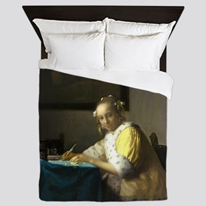 A Lady Writing by Johannes Vermeer Queen Duvet