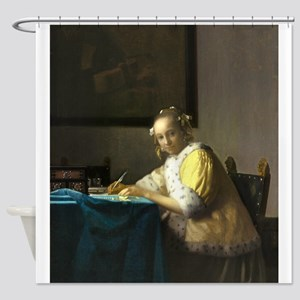 A Lady Writing by Johannes Vermeer Shower Curtain