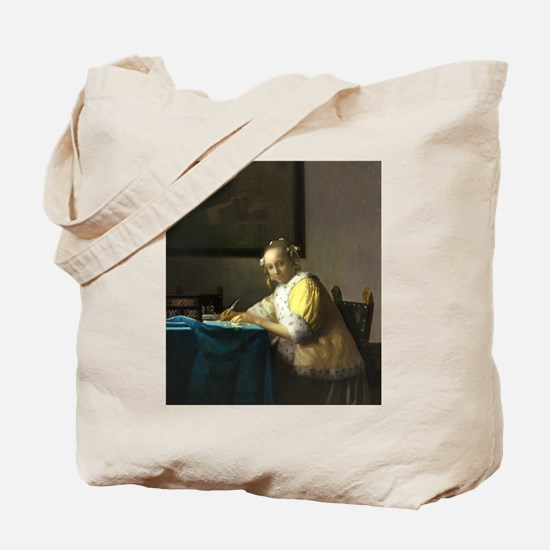 A Lady Writing by Johannes Vermeer Tote Bag