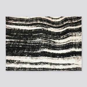 abstract lines black brushstroke 5'x7'Area Rug