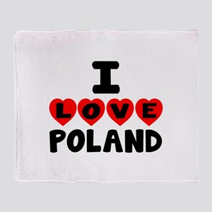 I Love Poland Throw Blanket