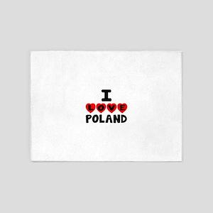 I Love Poland 5'x7'Area Rug