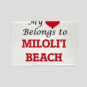 My Heart Belongs to Miloli'I Beach Hawaii Magnets