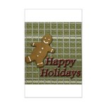 Happy Holidays Gingerbread Mini Poster Print