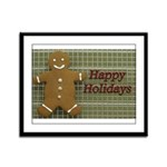 Happy Holidays Gingerbread Framed Panel Print