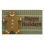 Happy Holidays Gingerbread Rectangle Sticker