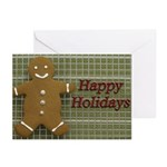 Happy Holidays Gingerbread Greeting Cards (Pk of 2