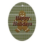 Happy Holidays Gingerbread Oval Ornament