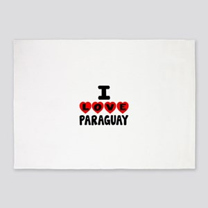I Love Paraguay 5'x7'Area Rug