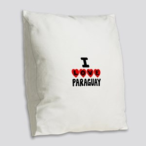 I Love Paraguay Burlap Throw Pillow