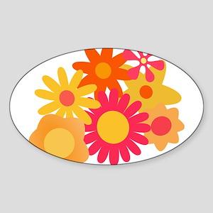 1960s vintage mod floral pink orange Sticker