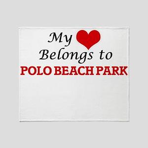 My Heart Belongs to Polo Beach Park Throw Blanket