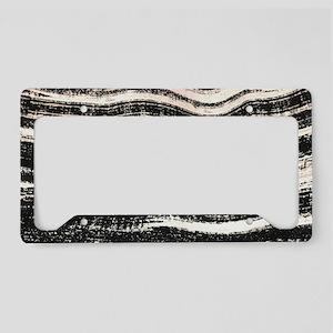 abstract lines black brushstr License Plate Holder