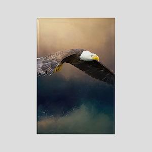 Flying american bald eagle Magnets