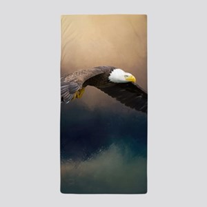 Flying american bald eagle Beach Towel