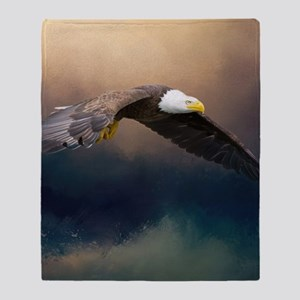 Flying american bald eagle Throw Blanket