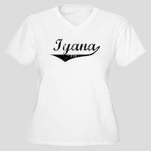 Iyana Vintage (Black) Women's Plus Size V-Neck T-S