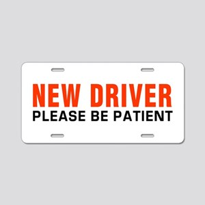 New Driver Be Patient inRed Aluminum License Plate