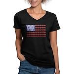 4 Wheeler in an Americ Women's V-Neck Dark T-Shirt