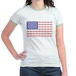 4 Wheeler in an American Flag Jr. Ringer T-Shirt