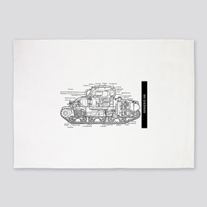 M4 SHERMAN CUTAWAY 5'x7'Area Rug