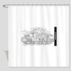 M4 SHERMAN CUTAWAY Shower Curtain