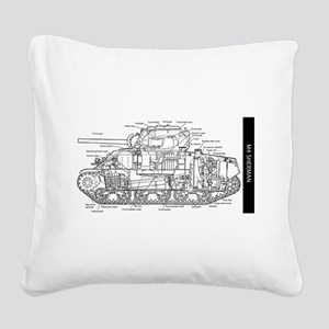 M4 SHERMAN CUTAWAY Square Canvas Pillow