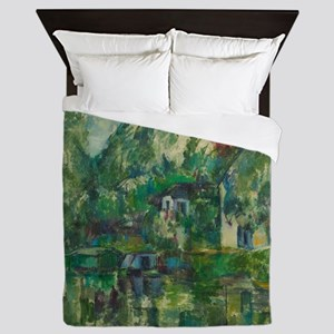 At the Water's Edge by Paul Cézanne Queen Duvet