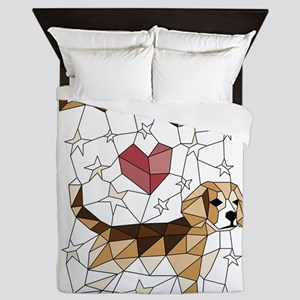 Geometric Beagle Queen Duvet