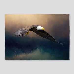 Flying american bald eagle 5'x7'Area Rug