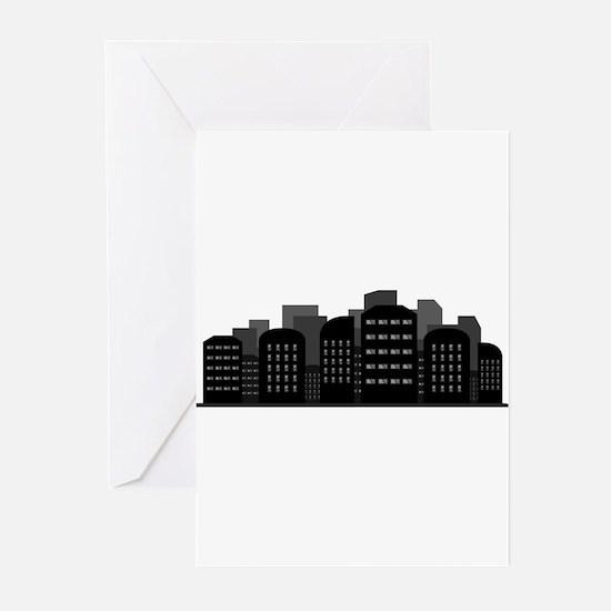 city skyline Greeting Cards