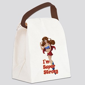 Woman Super Hero Shows Muscled Ar Canvas Lunch Bag