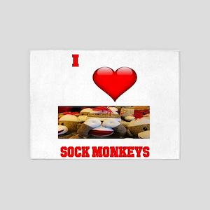 I Love Sock Monkeys 5'x7'Area Rug