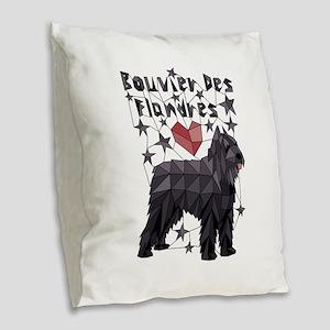 Geometric Bouvier Des Flandres Burlap Throw Pillow