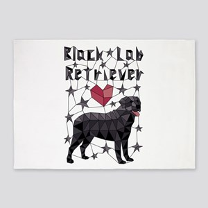 Geometric Black Lab Retriever 5'x7'Area Rug