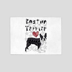 Geometric Boston Terrier 5'x7'Area Rug