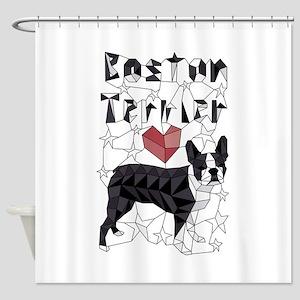 Geometric Boston Terrier Shower Curtain
