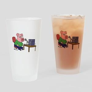 Pig using HAM radio Drinking Glass
