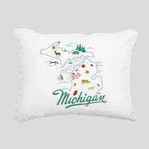 Retro Michigan Map Rectangular Canvas Pillow