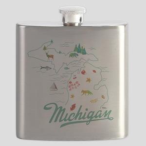 Retro Michigan Map Flask