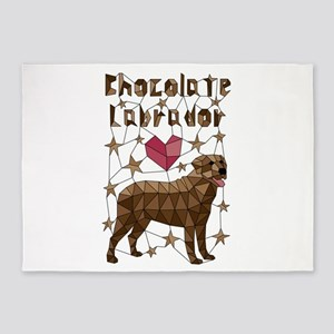 Geometric Chocolate Labrador Retrie 5'x7'Area Rug