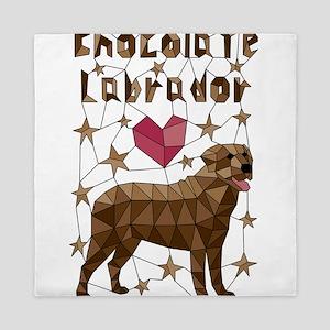 Geometric Chocolate Labrador Retriever Queen Duvet