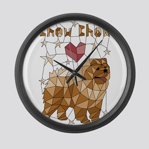 Geometric Chow Chow Large Wall Clock