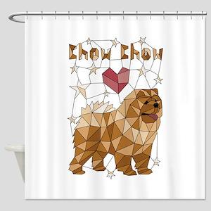Geometric Chow Chow Shower Curtain
