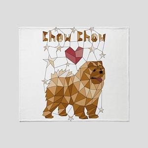 Geometric Chow Chow Throw Blanket