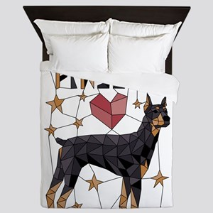 Geometric Doberman Pinscher Queen Duvet