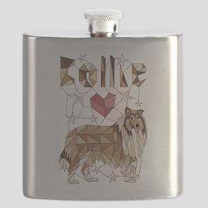 Geometric Collie Flask